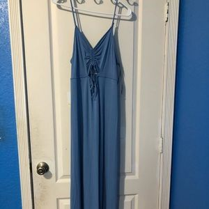 Forever 21 Blue Cut Out Cinched Bust Maxi Dress